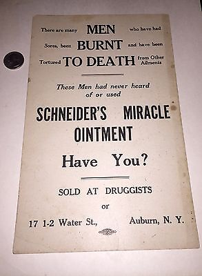 "Antique Quack Medicine Sign""Men Burnt To Death"" Schneiders Miracle Ointment Look"