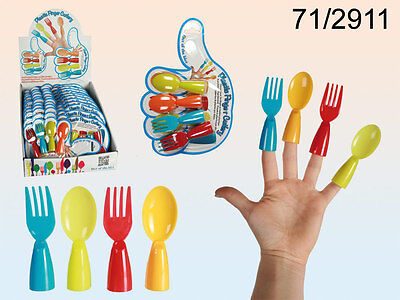 Plastic Finger Cutlery - New - Great Entertainment For Kids - 4 Ass Colours