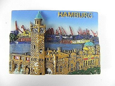 Hamburg Hafen St.Pauli Germany,Souvenir Magnet Poly Optik,Deutschland