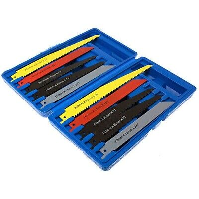 "10Pc Reciprocating Saw Blade Set Metal & Wood Cutting Blades 1/2"" Shank + Case"