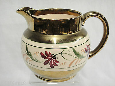 "Wade Heath Porcelain Pitcher Gilded with Ivory Color Floral Band 5"" Tall"