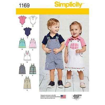 Simplicity Sewing Pattern Babies Overalls Jumper & Knit One Piece Bodysuit  1169