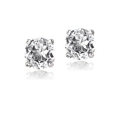 925 Silver 1.2ct White Topaz Round Stud Earrings, 5mm