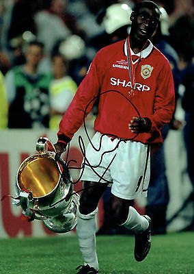 Andy COLE SIGNED Manchester United 16x12 Champions Photo Autograph COA AFTAL