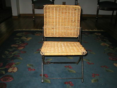 1930's  Child Folding Chair  Wrought Iron And Wicker