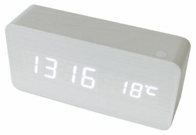 White Led Wooden 3 Alarm Clock + Temperature Display Usb/battery Wood White 6035
