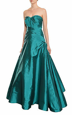 ML Monique Lhuillier Radiant Strapless Pleated Deep Teal Eve Gown Dress 4 NEW