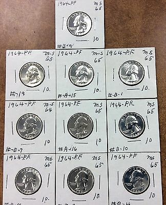 {BJSTAMPS} 1964 silver Washington Quarters Proofs  Lot of 10