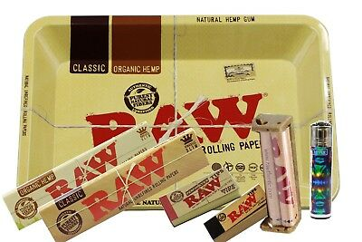 Authentic Raw Rolling Paper Combo M Tray+Papers+Tips+Rolling Machine+Lighter