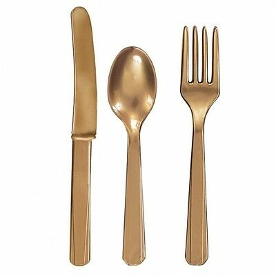 GOLD Reusable Plastic CUTLERY (Amscan) (Birthday/Party/Tableware/Cutleries)