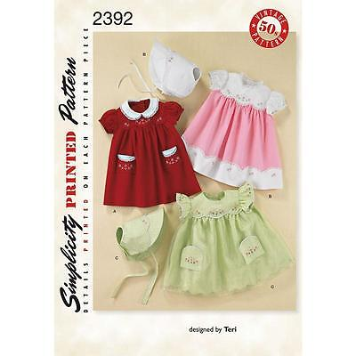 Simplicity Sewing Pattern Babies' Dress Bonnet With Embroidery Sizes Xs-L  2392