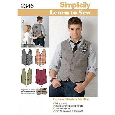 "Simplicity Sewing Pattern Men's Vests  Trim Variations Learn To Sew 34-52""  2346"