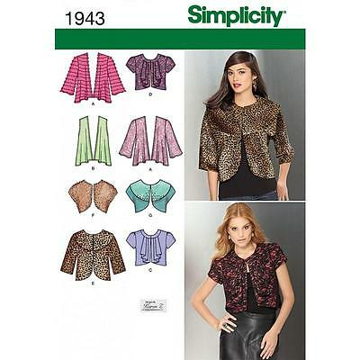 Simplicity Sewing Pattern Misses' Knit & Woven Jackets Sizes 6 - 24  1943
