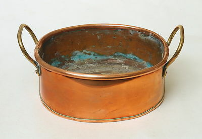 ATTRACTIVE GENUINE ANTIQUE 19TH CENTURY COPPER AND BRASS COOKING POT PAN