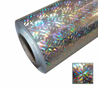 1m ROLL HOLOGRAPHIC SQUARED CONFETTI  IRIDESCENT STICKY BACK PLASTIC SIGN VINYL