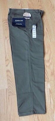 Arrow Pleated Olive Khaki Stain Repel Wrinkle Free Dress Pants Slacks 12 Reg 26