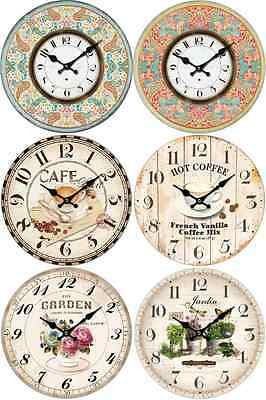 28Cm Retro Vintage Shabby Chic French Kitchen / Home Wall Clock.new. 6 Designs
