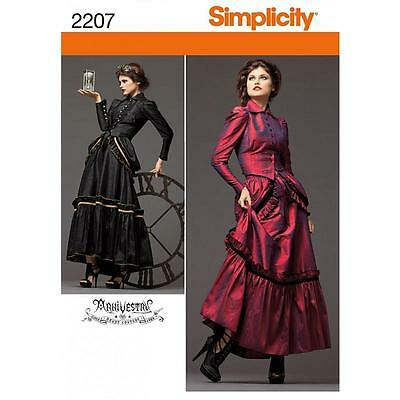 SIMPLICITY SEWING PATTERN Misses' Steampunk Costume VICTORIAN COSTUME 6-20 2207