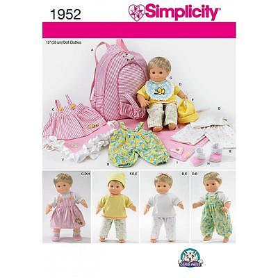 """Simplicity Sewing Pattern 15"""" (38Cm) Baby Clothes Blanket & Doll Carrier 1952"""