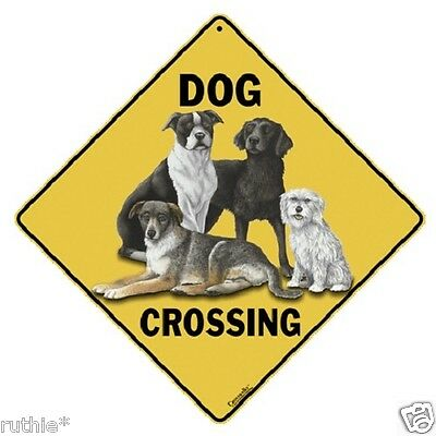 "Dog Metal Crossing Sign 16 1/2"" x 16 1/2"" Diamond shape Made in USA #90"