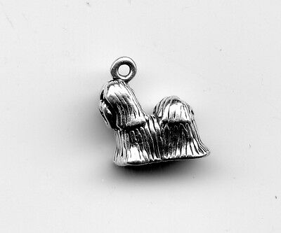 Sterling silver SHIH TZU 3D Dog Charm12X12mm apx 2 Grams