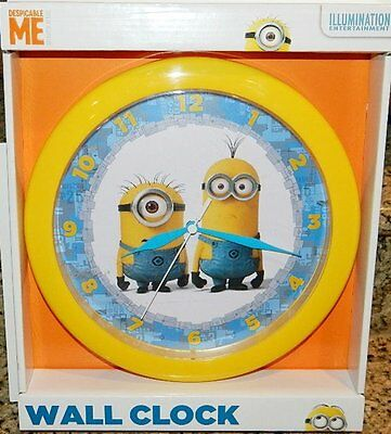 "Despicable Me Minion Made Phil and Tim 9.75"" Cordless Wall Clock, NEW SEALED"