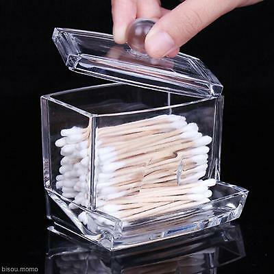 Clear Holder Box Home Cotton Swabs Stick Cosmetic Case Makeup Plastic Storage