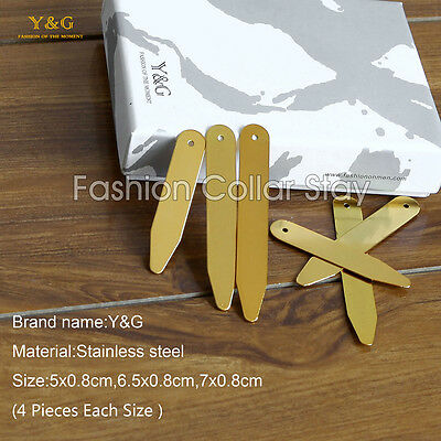 CS1010 Gold 12 Polished Executive Set Stainless Steel Collar Stays By Y&G