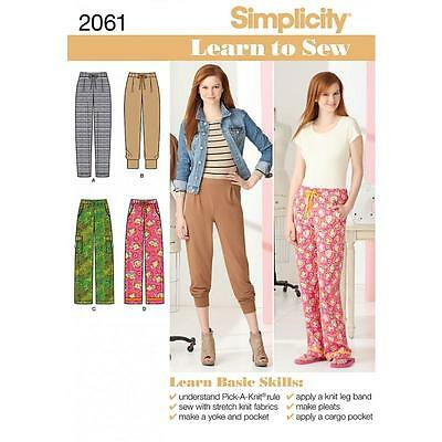 Simplicity Sewing Pattern Misses' Knit & Woven Pants 2 Lengths  6 - 18  2061