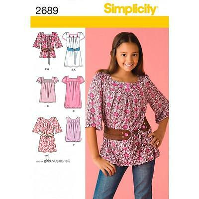 Simplicity Sewing Pattern Girl's /girls Plus Dress Or Tunic  8-16 8½-16½ 2689