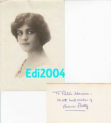 ARLINE PRETTY Vintage Original RARE 1915 Photo & Signed AUTOGRAPH CARD