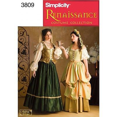 Simplicity Sewing Pattern Misses' Renaissance Costume Sizes 4 - 20 3809