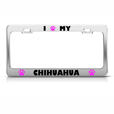 Paw Dog Auto Accessory 386 Black METAL License Plate Frame I Heart My