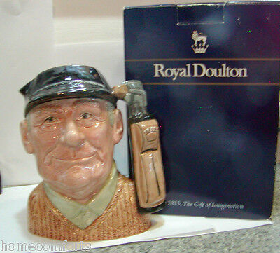 """Royal Doulton GOLFER Toby Jug D6623 WITH BOX Pitcher 1970 England 7""""H 0241"""