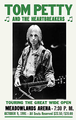 Classic Rock: Tom Petty & Heartbreakers at New Jersey Concert Poster 1991