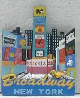 New York City Magnet Broadway mit Taxi ,3D Poly,Souvenir USA Amerika