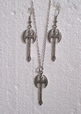 Large Battle Axe Necklace and/or Earrings Lesbian Rainbow Gay Pride