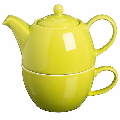 Brights Lime Green Ceramic Stoneware Afternoon Tea For One Teapot Teacup Mug Cup