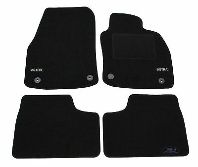 LUKOP008 TAILORED Black floor Car Mats with logo VAUXHALL ASTRA H mk5  4pcs