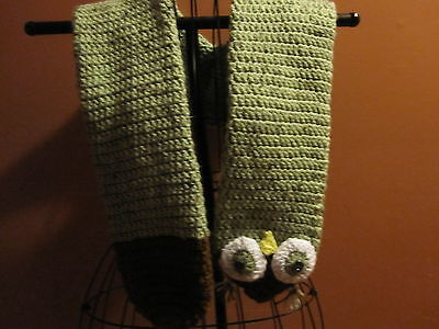 "Handmade Green Owl Animal Scarf 60"" Long"
