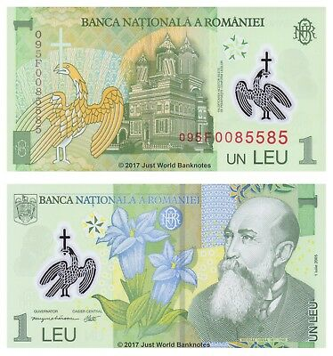 Romania 1 Leu 2009 P-117 Polymer Mint UNC Uncirculated Banknotes