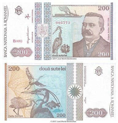 Romania 200 Lei 1992 Low Serial Numbers 000xxx P-100 Banknotes UNC