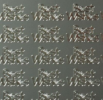 Sheet of 60 Silver Best Wishes Stickers Peel Off Phrases Card Making 12mm 903S