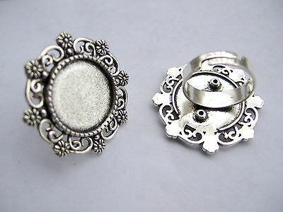 Lot of 5-25pcs Antique Silver Metal Blank Ring Base Settings for 18mm Cabochon