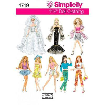 Simplicity Sewing Pattern 11 1/2 Inch Fashion Doll Clothes Gown  Dress  4719 A