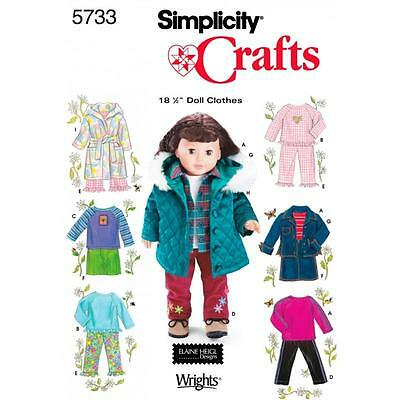 SIMPLICITY SEWING PATTERN Casual Wardrobe for 18 Inch Dolls 5733 SALE