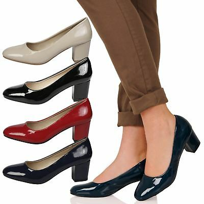b3e99c81399 Womens Shoes Ladies Low Chunky Block Heels Round Toe Court Office Work New  Size