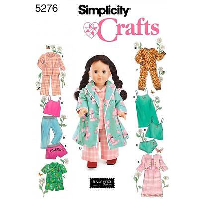 SIMPLICITY SEWING PATTERN Sleepwear and Loungewear Wardrobe 18 Inch Doll 5276