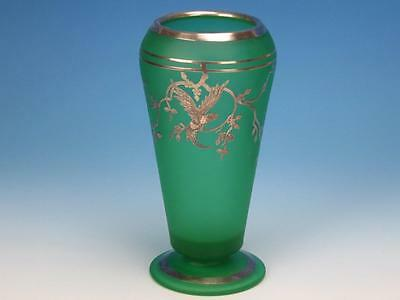Tiffin Glass Rockwell Sterling Silver Overlay Green Parrot Vase