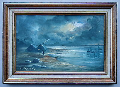 Le.Gassick Night Shores framed Oil painting